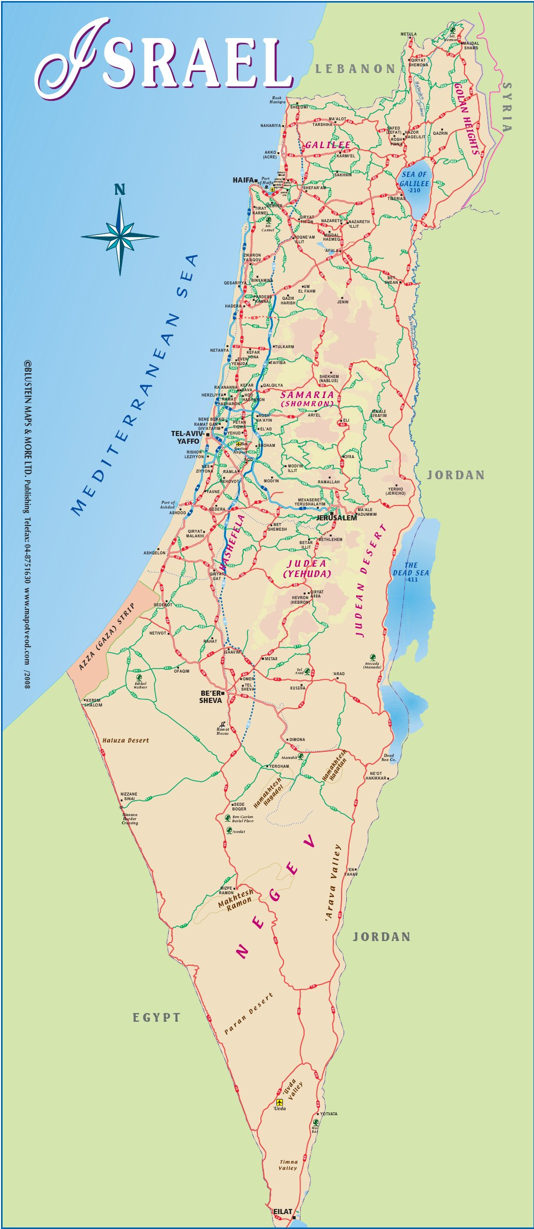 Israel Touristische Karte – Tourist Map of Israel